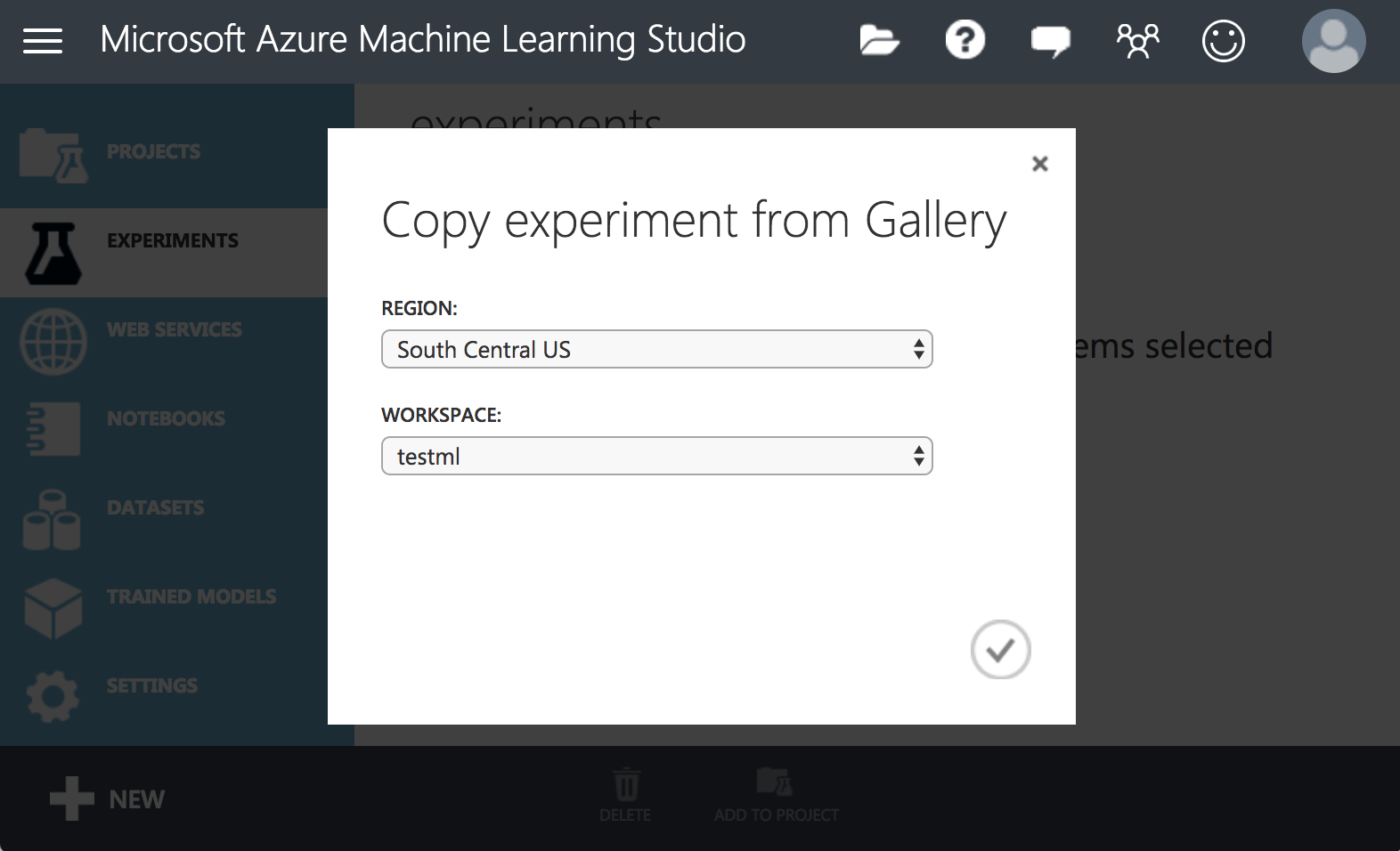 azure ml copy from gallery